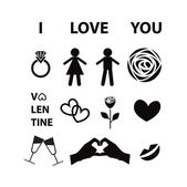Set of Valentine day love icon — Stock Vector