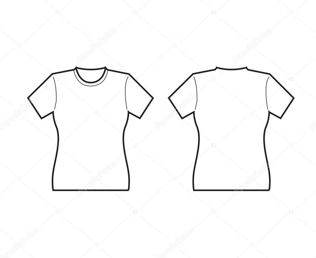 Female White T-shirt template front and back — Stock Vector ...