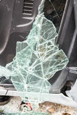 The broken windshield in car accident  — Stock Photo