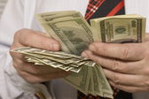Recounting dollars — Stock Photo