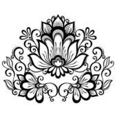Flor decorativa con hojas — Vector de stock