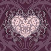 Вектор винтажная открытка с сердцем. — Cтоковый вектор