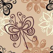 Seamless Floral Pattern with Dragonfly (Vector) — Vettoriale Stock