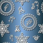 Seamless Winter Pattern (Vector), Christmas Decorations — 图库矢量图片