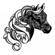 Stockvector : Vector Decorative Horse with Patterned Mane