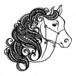 Vector de stock : Vector Decorative Horse with Patterned Mane