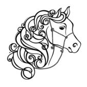 Vector Decorative Horse with Patterned Mane — Stock Vector
