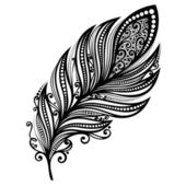 Peerless Decorative Feather (Vector), Tattoo — Stock Vector