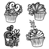Vector Set of Ornate Cakes — Stock Vector