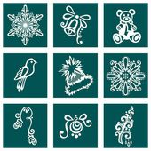 Set of Deco Ornamental Winter Objects (Vector) — Stock Vector