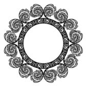 Mooie decoratieve ronde frame (vector). sneeuwvlok — Stockvector