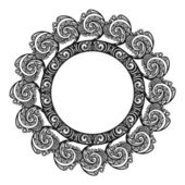 Beautiful Decorative Round Frame (Vector). Snowflake — Stockvector
