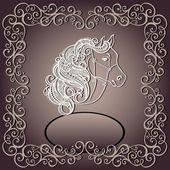 Carte vintage avec un cheval décoratif avec motifs crinière. — Vecteur