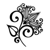Beautiful Decorative Flower with Leaves (Vector) — Stockvektor