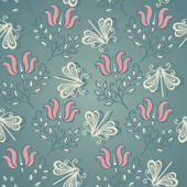 Seamless Ornate Pattern with Butterflies — Vetorial Stock