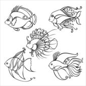 Vector Set of Contour Sea Fishes — Stock Vector