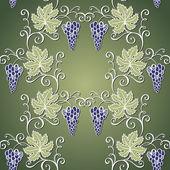 Patrón floral transparente con uva — Vector de stock