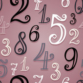 Vector Seamless Pattern with Vintage Numbers — Stock Vector