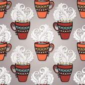 Seamless Pattern with Decorative Cups of Tea — Stock Vector
