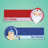 Christmas Banners With Santa Claus and Snow Maiden — Stock Vector