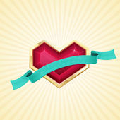 Golden Heart and Ribbon — Stock Vector