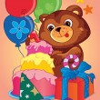 A cute little teddy bear is celebrating his birthday. — Stok Vektör