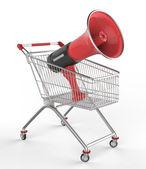 Shop cart and megaphone — Stock Photo