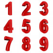 Stock Photo: Number from 1 to 9 in red over white background