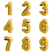 Number from 1 to 9 in gold over white background — Stock Photo