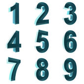 Number from 1 to 9 in blue over white background — Stock Photo