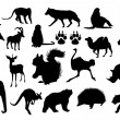 Wild Animals Silhouettes — Stock Vector