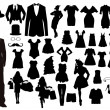 Stock Vector: Clothes silhouettes