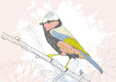 Hand drawn colored bird — Stock Vector