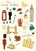 Londres objetos de color — Vector de stock