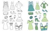 Accesorios y ropa de las mujeres — Vector de stock