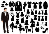 Clothes silhouettes — Stock Vector