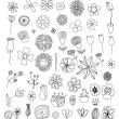 Stock Vector: Set of flower doodles