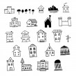 Set of hand drawn icons of houses — Stock Vector