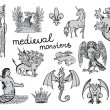 Medieval Monsters — Stockvectorbeeld