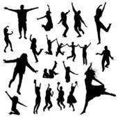 Siluette della gente di salto — Vettoriale Stock