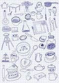 Kitchen objects on paper background — Stockvektor