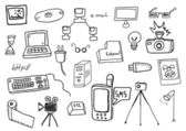Vector hand drawn technology doodles — Stockvektor