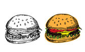 Black-white and colored burgers — Stock Vector