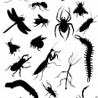 Set of insect silhouettes — Stockvektor