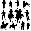 Set of cowboy silhouettes — Stock Vector