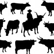 Bulls and cows silhouettes — Stock Vector