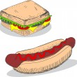 Sandwich and hot dog — Stock Vector