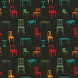 Seamless multicolored chairs and tables pattern — Stock Vector