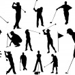 Set of golf players silhouettes — Stock Vector