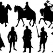 Knight silhouettes — Stock Vector
